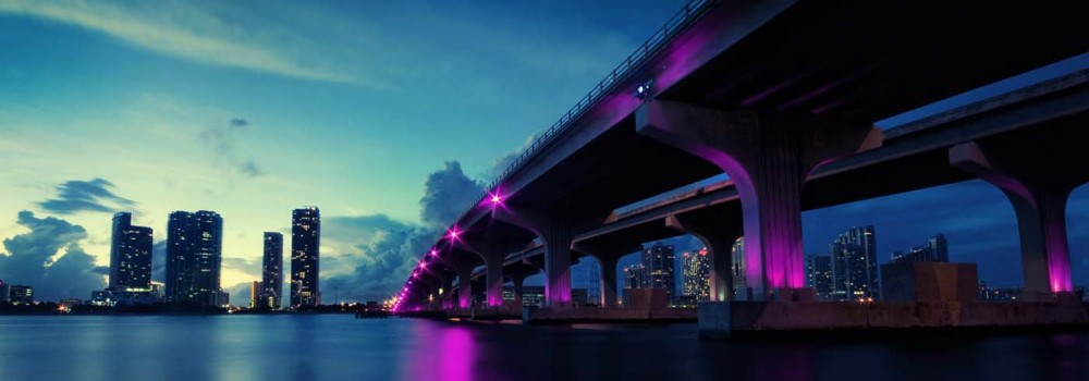 Miami-bridge-glows-night